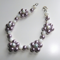 Blue Freshwater Pearl and Lavender Shell Pearl Flower Bracelet, Silver Clasp
