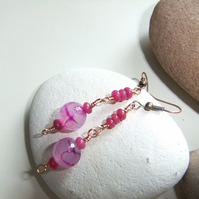 Pink Banded Agate Copper Earrings