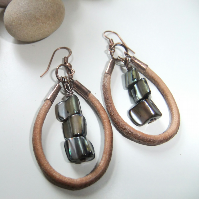 Rustic Leather and Black Shell Earrings