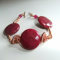 Raspberry Gemstone Copper Bracelet