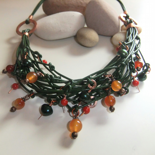 'Copper Rings' Green Leather, Carnelian, Coral and Pearl Necklace