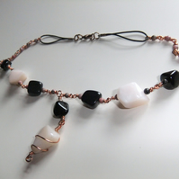 Pink Opal and Black Amber (Jet) Copper Necklace.