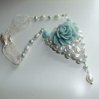 White and aqua Pearl and Aventurine, Rose Necklace