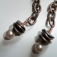 Pearl disc and chain Copper Earrings