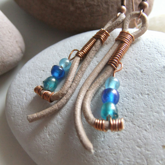 Leather 'Flick' and Copper coil Earrings in Blue