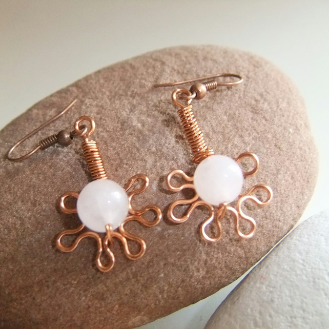 Copper 'Daisy' Rose Quartz Earrings