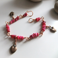'Copper Hearts', hot pink Shell Bracelet