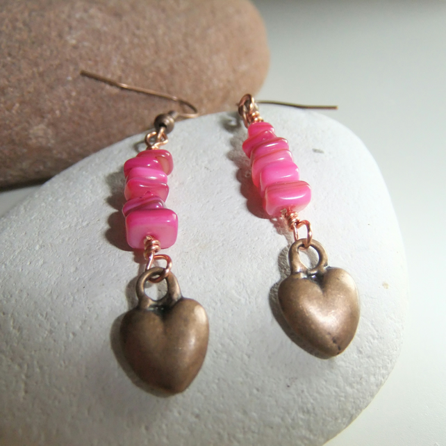Copper Hearts, hot pink Shell Earrings