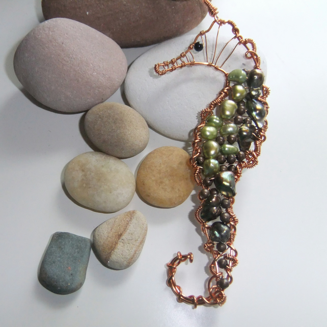GreenPearl and Copper Seahorse Pendant