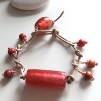 Chilli Pepper, Leather 'Surfer' Bracelet with Sponge Coral and Copper