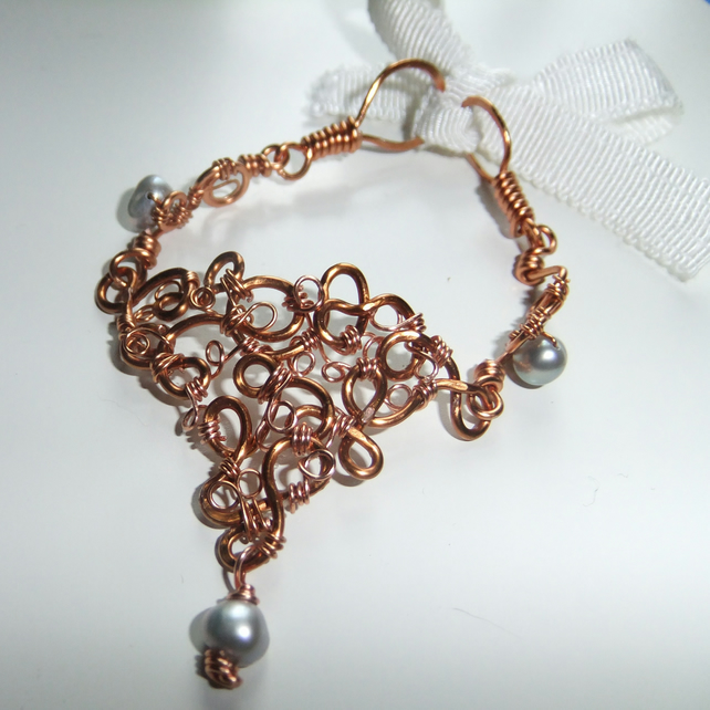 Freshwater Pearl and Copper Bracelet
