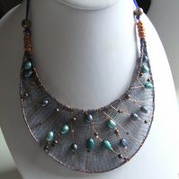 Pearl and Copper Mesh Bib Necklace