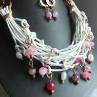 White Pearl, Pink Banded Agate, Leather  and 'Copper Rings'  Necklace