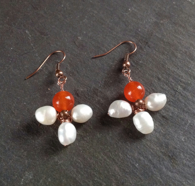 Pearl and orange Jade Earrings