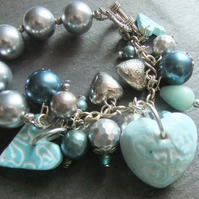 Shell Pearl and Amazonite teal Heart charm Bracelet