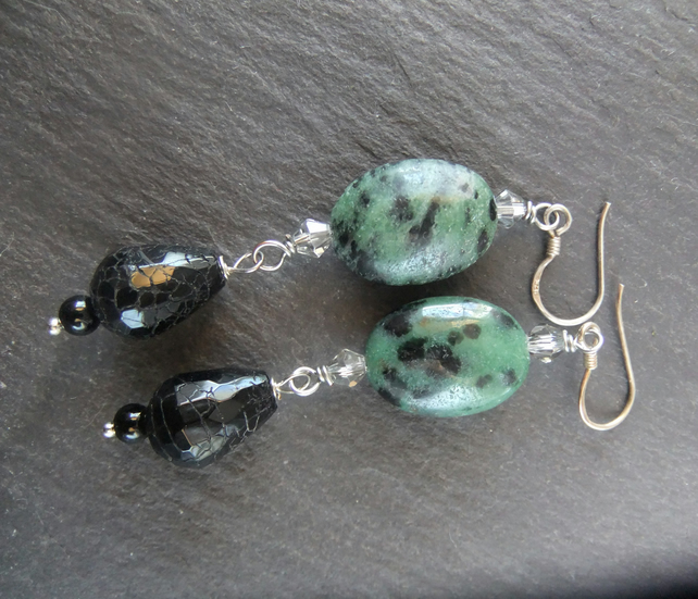 Ruby Zoisite with black, crackled Agate and Onyx Earrings
