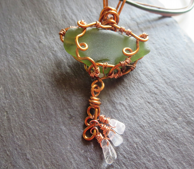 Rosemarkie Sea Glass and Rose Quartz Copper Pendant