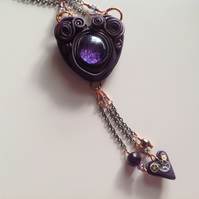 Purple sparkle Heart with Pearl, Amethyst and cogs.