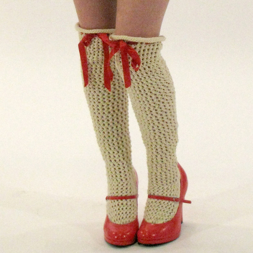 Handknitted lace stockings, knee high