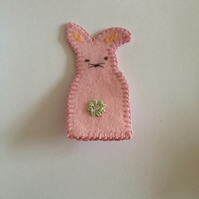 (247) Pale Pink Rabbit Finger Puppet.