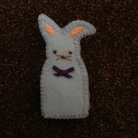 (248) Pale Blue Rabbit Finger Puppet.