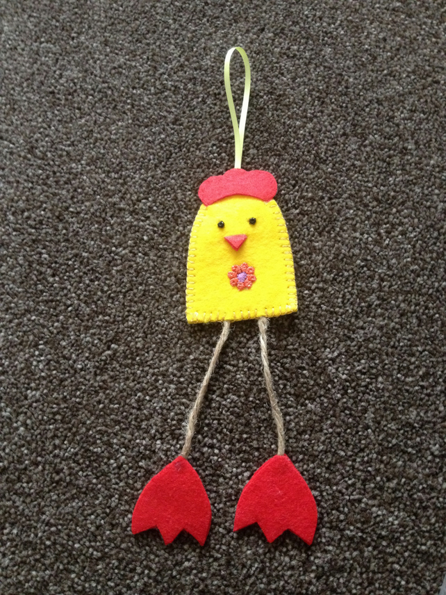 (314) Handmade Felt Chicken Decoration.