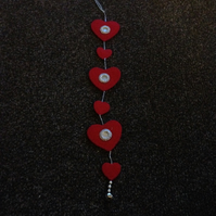 Handmade Felt Red Heart Garland. (416)