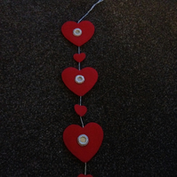 Handmade Felt Red Heart Garland. (417)