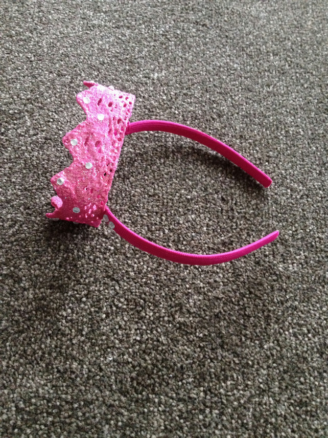 (418) Children's Pink Crown Headband.