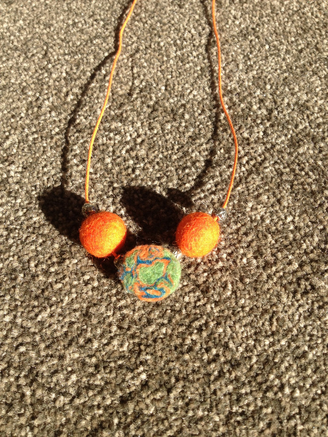 (460) Handmade Felt Necklace.