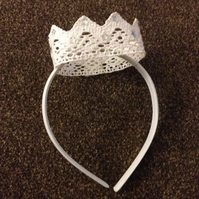 Children's White Crown Headband.