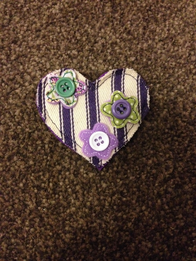 Handmade Purple Ticking Flower Brooch.