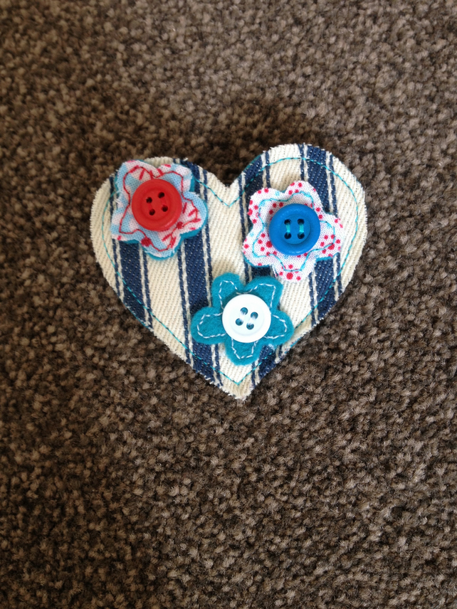 Handmade Blue Ticking Flower Brooch.
