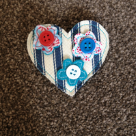 Handmade Blue Ticking Flower Brooch. (523)