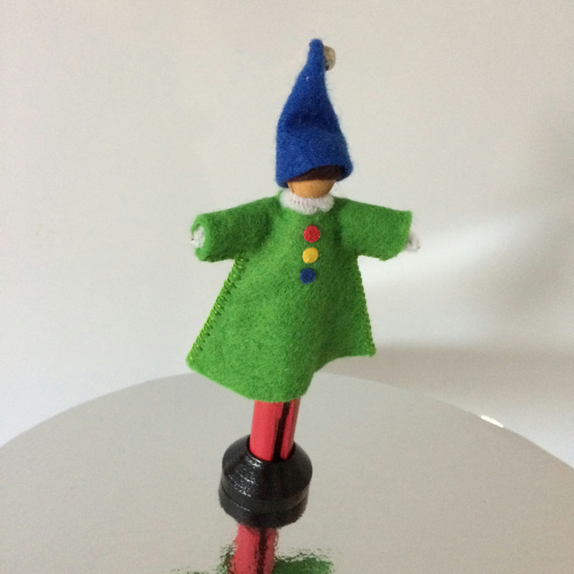 Handmade Clown Peg Doll.