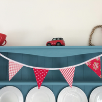 Red Floral Stripe  Bunting. (304)