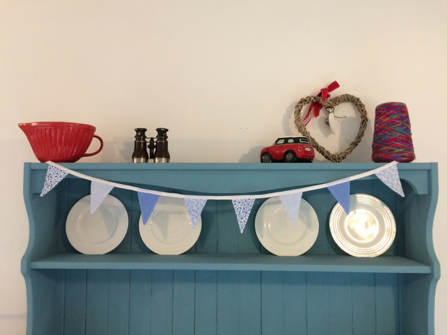(410) Handmade Blue Mini Bunting.