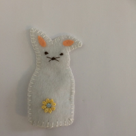 White Rabbit Finger Puppet. (249)