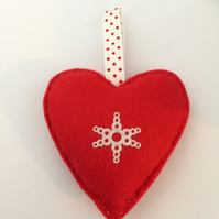 Red Felt Snowflake Heart. (085)