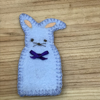 Pale Blue Rabbit Finger Puppet. (248)