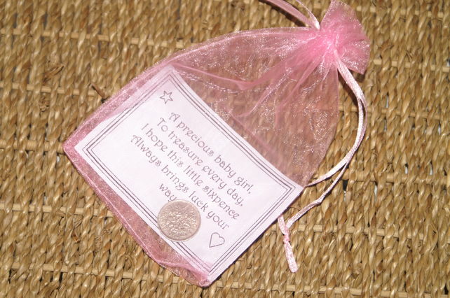 Baby Girl Lucky Sixpence with verse & organza bag. Good Luck Charm Original Gift