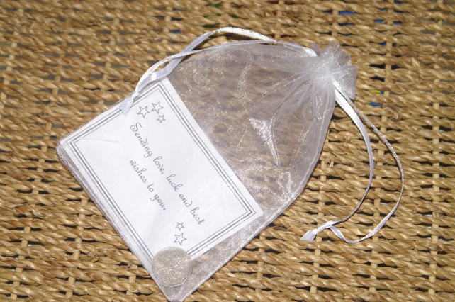 Lucky Sixpence with verse & organza bag. Good Luck Charm. Original Gift.