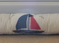Draught excluder in lovely nautical design sailing boats