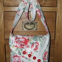 Shoulder bag  in lovely cotton duck fabric vintage inspired