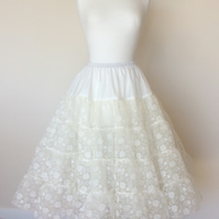 Custom made 3 layer petticoat stiff net with lovely lace overlay