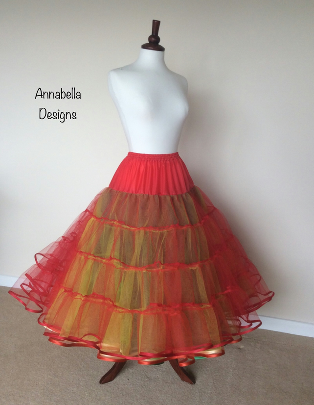 6 layer multi coloured stiff net petticoat satin bound choice of custom colours