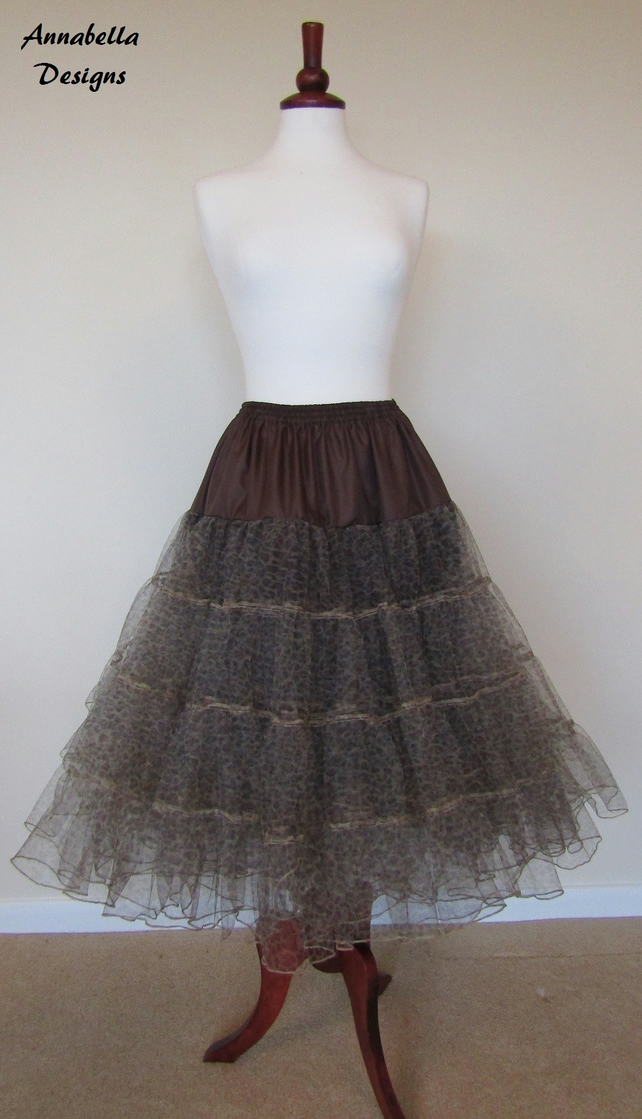 3 layer soft tull animal print petticoat