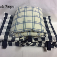 Wheat bag heat pad light blue dark blue check choice