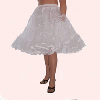 White stiff net Rock 'N' Roll petticoat custom hand made