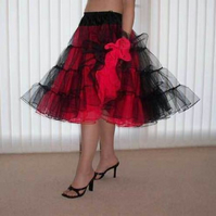Black red  stiff net Rock 'N' Roll petticoat custom made